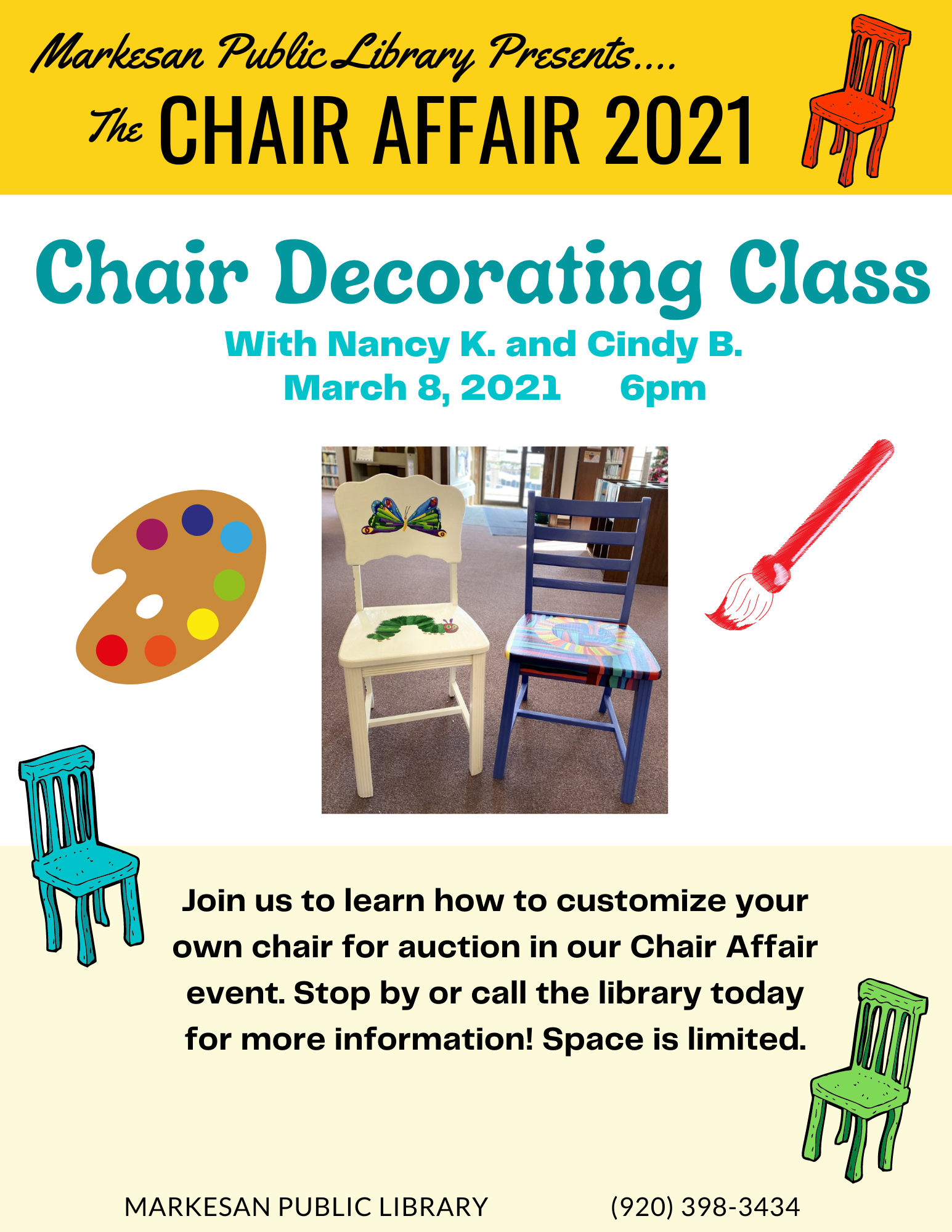 Chair Decorating Class on Monday, March 8 @ 6:00 pm
