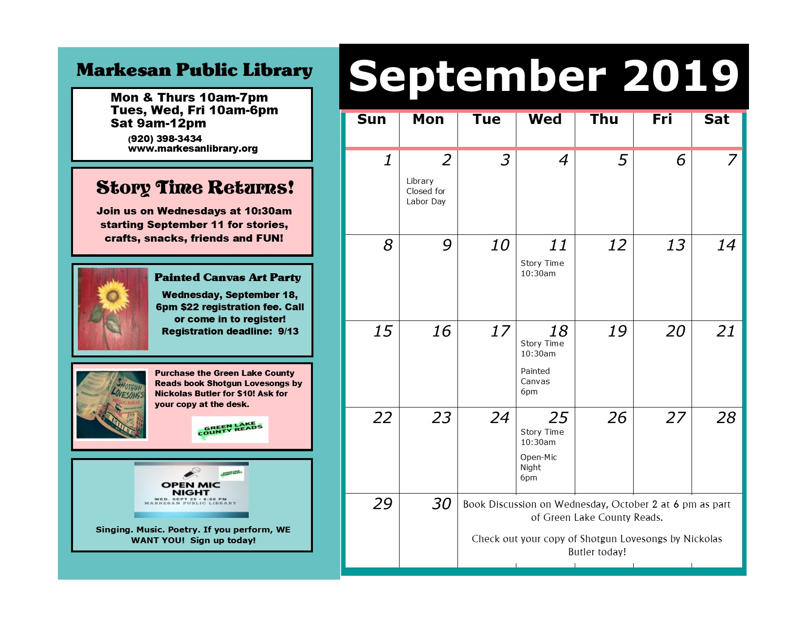 September Events Calendar